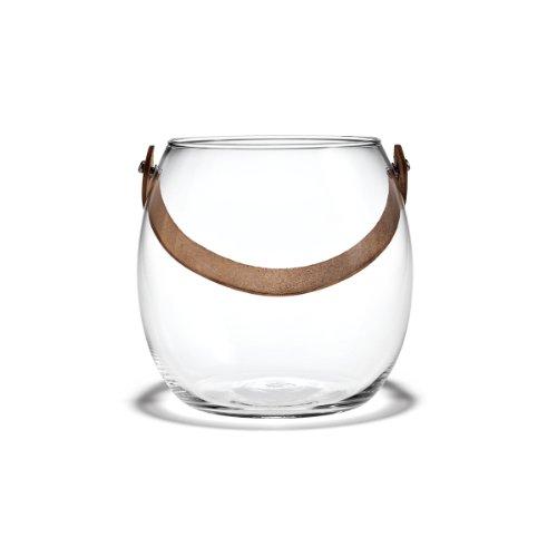 Holmegaard - DWL Glasschale mit Lederhenkel - klar Höhe 16 cm