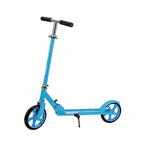 WJJ Patinetes para Niños Kick Plegable Moto for Adultos Adolescentes Ajustable con Ruedas Grandes, Escuela de Trabajo de Camino, Hombres Mujeres Niños Niñas (Color : Blue)