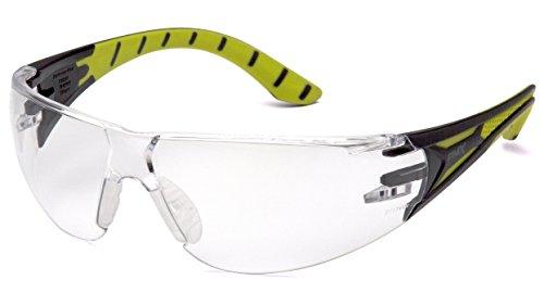 Pyramex Endeavor Plus - Gafas de seguridad duraderas, marco de espuma negro/verde, lente transparente H2X antivaho