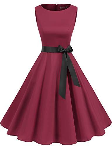 Gardenwed Rotes Weihnachten Kleider für Damen 1950er Vintage Cocktailkleider Retro Rockabilly Damen Elegant Kleider Für Hochzeit Dark Red S