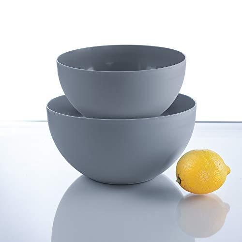 Salat-Bowl |Salatschüssel rund | edel mattes Design, Pastell, auch als Rührschüssel, lebensmittelecht (Stone 2er-Set, 2.5 L + 4 L)