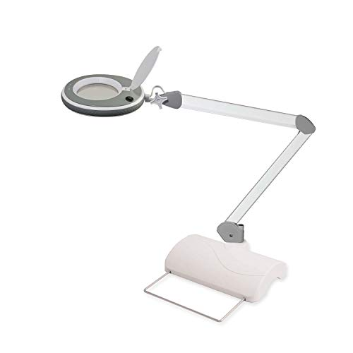 Lumeno 821X Lámpara Lupa LE, lámpara de Trabajo lámpara cosmética, Brillo Ajustables y Lente crisatlino Ayuda de Lectura, lámpara de Aumento 3 con trípode de Mesa