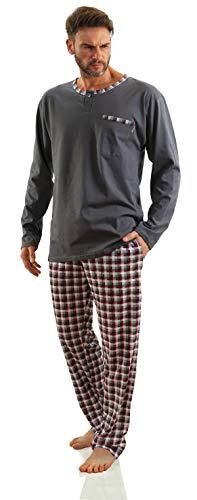 Sesto Senso Herren Schlafanzug Lang Baumwolle Pyjama Langarm Shirt mit Tasche Pyjamahose Zweiteilig Set Bunt Nachtwäsche M Graphit