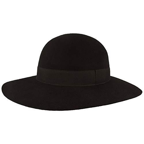 Breiter Damen Filz-Hut | Wollhut aus 100% Wolle – Größenverstellbar, wasserabweisend & Rollbar – mit Ripsband-Garnitur (Schwarz Glocke, OneSize)