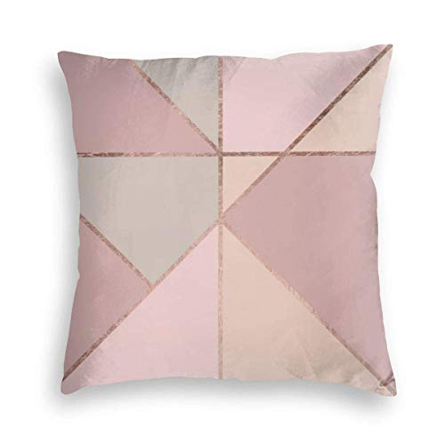 Pink Geometric Modern Rose Gold Peach Tan Blush Color Block Coral Velvet Soft Decorative Square Throw Pillow Covers Cushion Case Pillowcases for Sofa Chair Bedroom Car 18X18inch
