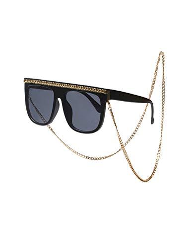 besbomig Gafas de Sol Mujeres Retro Vintage Gafas Cuadradas - Clásico Grandes Moda Gafas UV400 con Cadena de Metal Señoras Disfraz Sunglasses