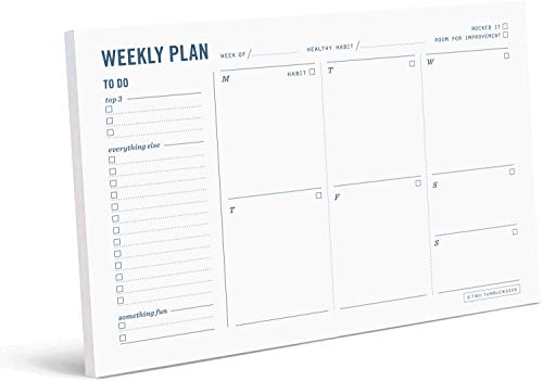 "Two Tumbleweeds Weekly Planner - 9 x 6"" - Desktop Planning Pad with To-Do List, Daily Schedule, and Habit Tracker - 50 Undated Sheets"