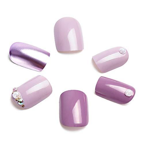 LIARTY 24pcs Purple Fake Nails Kit, Solid Elegant Nail Art Medium Length Square False Nails Full Cover with Design