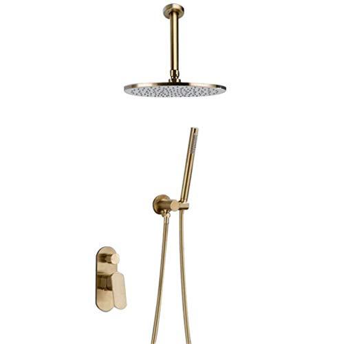 Lopus douchesysteem, messing geborsteld goud plafondmontage badkamer doucheset 8-12