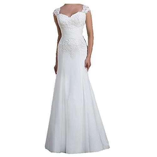 YASIOU Elegant Hochzeitskleid Damen Lang Hochzeitskleider Spitze Chiffon Brautmode Rückenfrei Weiß Vintage Spitze Meerjungfrau Brautkleid Abendkleider