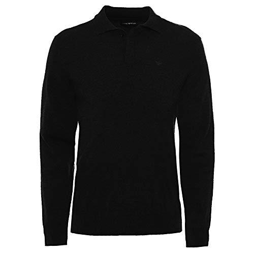 Armani Hombres Camisa de Polo de Manga Larga de Lana Virgen XL Negro