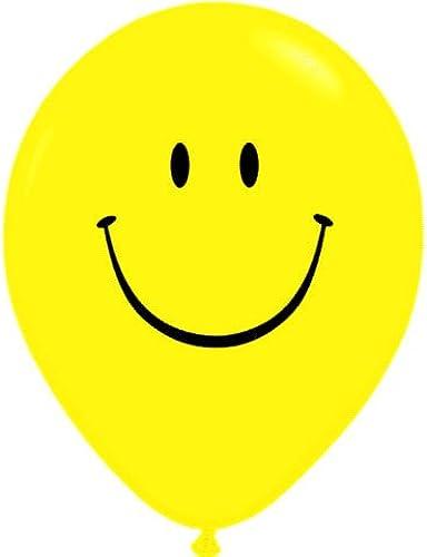 en promociones de estadios Qualatex 39299 Smile Face - Globo rojoondo rojoondo rojoondo de látex, Color negro y amarillo, 40,6 cm  autentico en linea