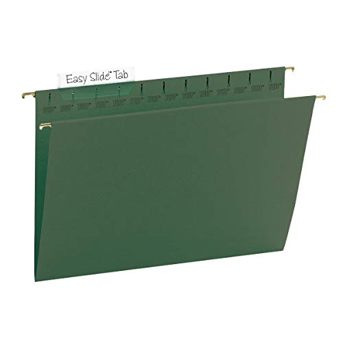 Smead TUFF Hanging File Folder with Easy Slide Tab, 1/3-Cut Sliding Tab, Legal Size, Standard Green, 20 per Box (64136, Rod Color May Vary)