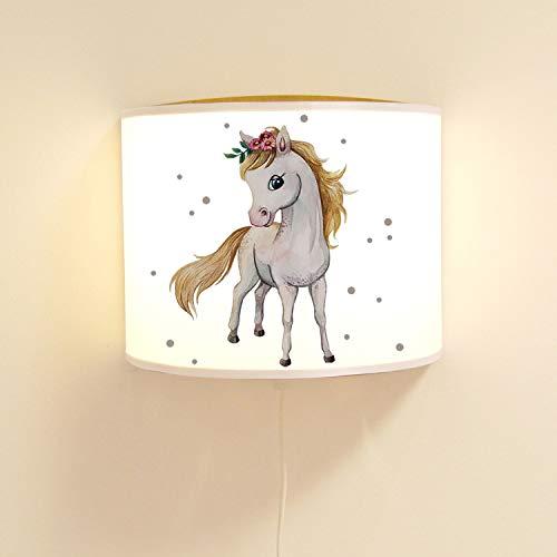 ilka parey wandtattoo-welt Wandlampe Kinderlampe mit süßen Pferd Pferdchen & Punkte Lampe Motivlampe Leselampe Kinderzimmer ls122 - ausgewählte Farbe: *naturholzfarben*