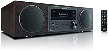 Sharp Vintage Style Modern Retro Look Micro Component Wireless Bluetooth Audio Streaming & Cd Player Wood Speaker System + Remote, USB Port for MP3 Playback, Am/FM Stereo Digital Tuner, Aux, Brown Oak