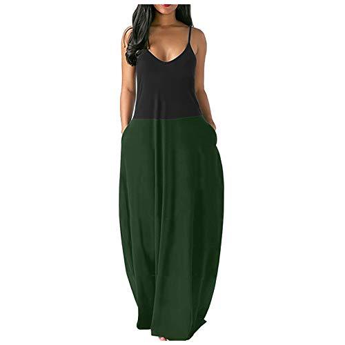 Qigxihkh Damen Strand Pullover Maxi Boho Sommerkleid Damen Loose Long Slip Kleid