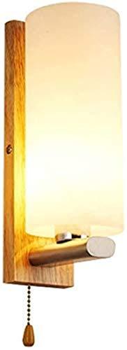 Aplique de pared industrial LED, Moderno japonés de la cabecera de la cabecera luz cilíndrica cilíndrica de cristal blanco sombra con interruptor de tracción Lámpara de pared Base de madera E27 Linter