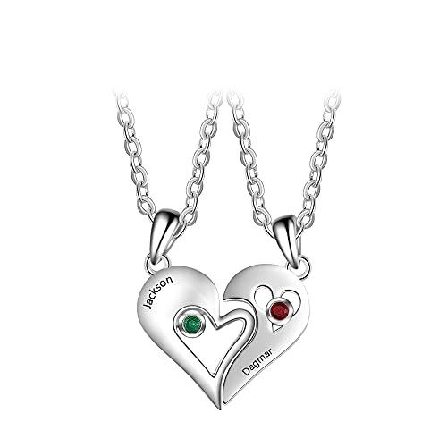ZHUDJ Collar de Pareja de corazón Collar de Plata de Ley 925 con Nombre BFF Best Friends Forever Friendship Jewelry