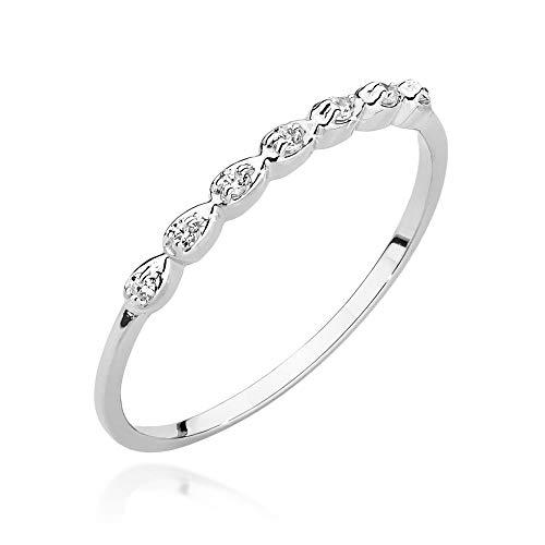 Anello da donna in oro bianco 585, 14 carati, con diamanti naturali