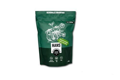 HANS® Vegan Proteinpulver 55% Eiweiß | Hanf Lein Kürbis Sonnenblume | Pflanzliches Hanfpulver ohne Zusatzstoffe | Superfood Eiweißpulver für den Muskelaufbau | Bio-Protein Pulver - 350 Gramm (350)