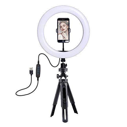 LED Ringlicht, 360-Grad-Schwenk- / Neigungsdrehung LEDs Ringleuchte mit Lichtstativ Stativ und Handy Halterung Handyhalter und biegehalterung für Make-up, YouTube, Fotografie, Video