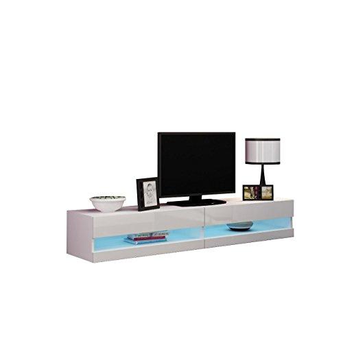 Mirjan24 TV Lowboard Vigo New 180 cm, TV Tische, TV Schrank, Fernsehschrank, Hängeschrank, Hochglanz (mit Blauer LED Beleuchtung, Weiß/Weiß Hochglanz)