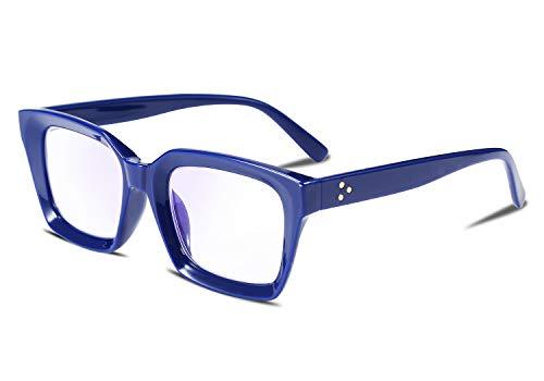 FEISEDY Retro Square Blue Light Blocking Reading Glasses Anti Glare Digital Eyestrain Reader B2479 Blue 2.50x