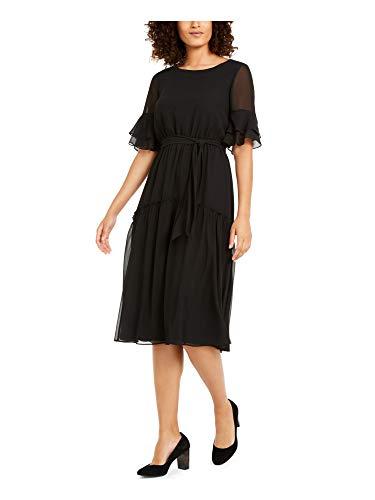 Anne Klein Women's Elastic Waist Bell Sleeve Dress, Anne Black, S