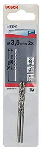 Bosch Professional Metallbohrer HSS-G geschliffen (2 Stück, Ø 3,5 mm)