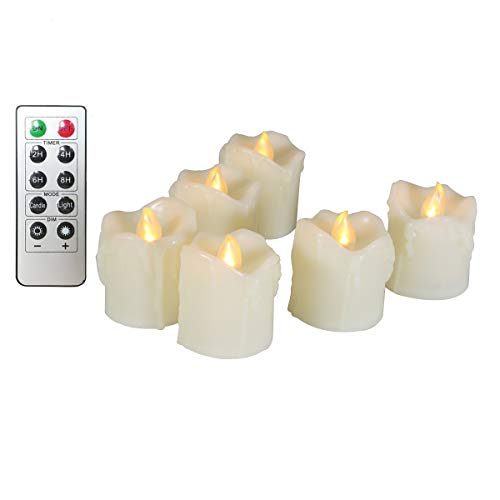 Erosway LED Candles, Realistic Flickering Flameless Tea light 200 Hours of Nonstop Working with Remote and 2/4/6/8 Hours Timer, set of 6 Electric Candles of Dripping Wax