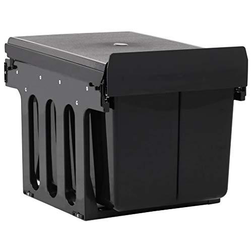 Festnight Cubo de Basura de Cocina Extraíble Reciclaje Cierre Suave 48 L Cubo Basura Reciclado 48 x 34,3 x 35,1 cm Negro