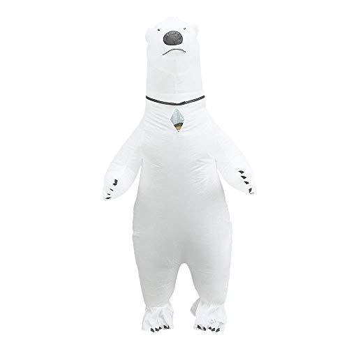 JASHKE Aufblasbare Eisbär Kostüm Cosplay Blow Up Ganzkörperanzug Overall für Erwachsene