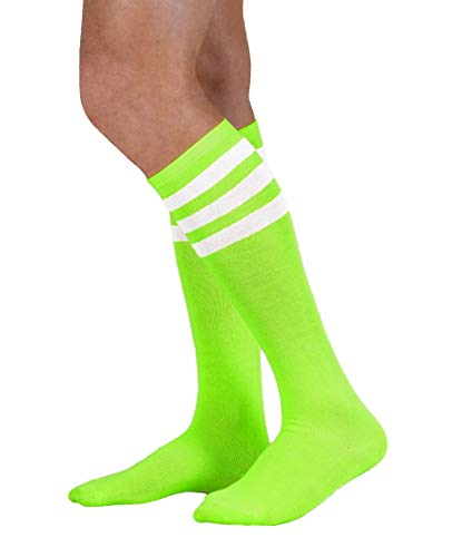 Colored Knee High Tube Socks with Colored Stripes-Neon Green with White Stripes)