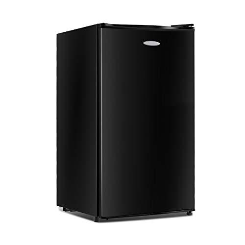 GOPLUS Kühlschrank mit Gefrierfach Vollraumkühlschrank Mini-Kühlschrank Kühl-Gefrier-Kombination Tischkühlschrank lautlos 91L, Farbewahl (Schwarz)