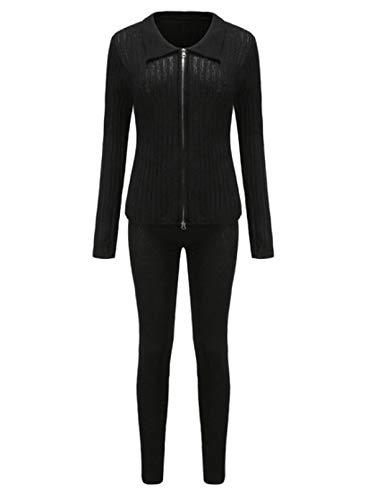 FOBEXISS Conjunto de chándal de punto acanalado con cremallera y cuello de solapa de manga larga y pantalones largos ajustados