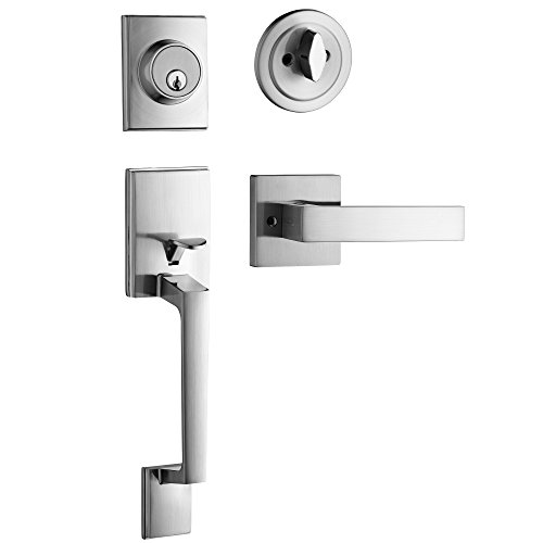 Berlin Modisch Single Cylinder HandleSet with Lever Door Handle (for entrance and front door) Reversible for right and left handed and a single cylinder deadbolt Handle Set Satin Nickel Finish