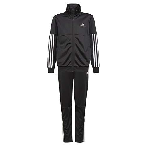 adidas Jungen 3-Streifen Team Trainingsanzug, Top:Black/White Bottom:Black/White, 164