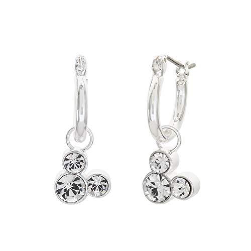 Disney Minnie Mouse Silver Plate Brass Crystal September Birthstone Hoop Earrings