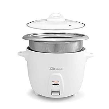 Elite Cuisine 20 Cup Cooked (10 Cup Uncooked) Professional Rice Cooker With Stainless Steel Pot – ERC-2020 – Includes Measuring Cup, Glass Lid & Spatula