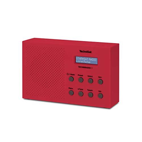 TechniSat TechniRadio 3 Dab Radio Dab+, FM, Portable, Radio-réveil, Design Bloc Rouge
