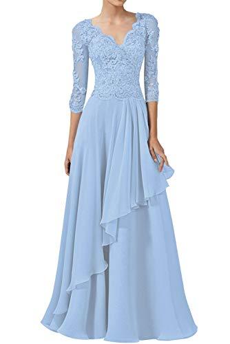 Abendkleider Spitzen Lang Ballkleider Hochzeitskleid A-Linie Brautjungfernkleider 3/4Ärmel Elegant Brautmutterkleider Festkleider Hellblau 48