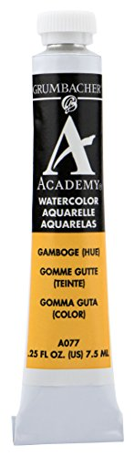 Grumbacher Academy Watercolor Paint, 7.5ml/0.25 Ounce, Gamboge Hue (A077)