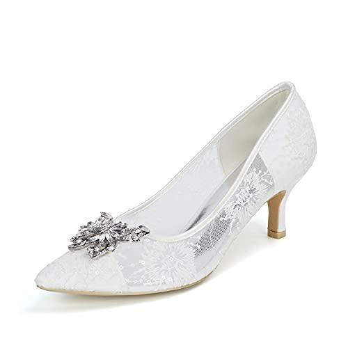 Sexy Zapatos de Novia, Zapatos de Tacón para Mujer con Pedrería 6cm...