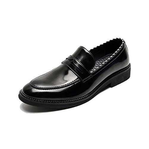 MING-BIN Schuhe bequem Kleid for Mode Herren genähtes Loafers Beleg auf Mikrofaser Leder Gummi-Sohle mit Blockabsatz Solid Color Round Toe Anti-Rutsch-Streifen Mode (Color : Black, Size : 38 EU)
