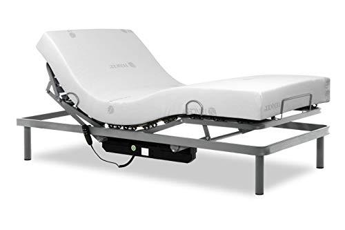 Gerialife® Pack Cama articulada Reforzada 5 Planos con colchón viscoelástico Tencel | Fabricado en España (90x190, Mando con Cable)