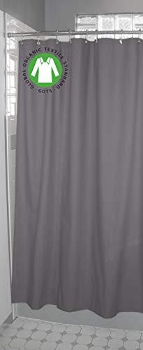 Bean Products Baumwoll-Duschvorhang – Hanf – Leinen, Bio-Baumwolle, Badewannen- & Stallgrößen – Keine Einlage nötig – umweltfre&lich Standard + Roller Rings Natural Organic