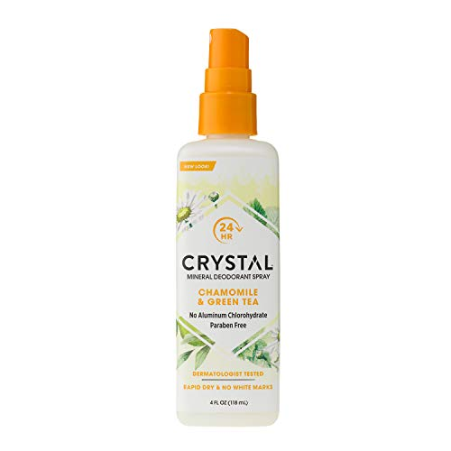 CRYSTAL Mineral Deodorant Spray- Body Deodorant with 24-Hour Odor Protection, Chamomile & Green Tea Spray, Non-Staining, Aluminium Chloride & Paraben Free, 4 FL OZ
