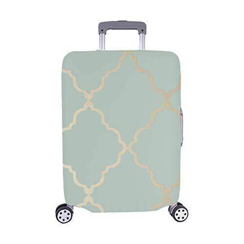 Klein Trellis Metallic Gold On Aqua Blue Pattern Spandex Trolley Case Travel Luggage Protector Suitcase Cover 28.5 X 20.5 Inch