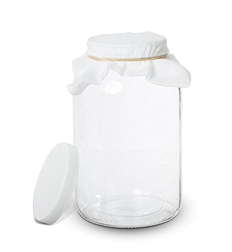 1 Gallon Glass Kombucha Jar - Home Brewing and Fermenting Kit with Cheesecloth Filter, Rubber Band and Plastic Lid - By Kitchentoolz