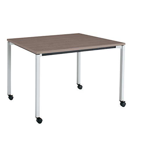 コクヨ ミーティングテーブル JUTO MT-JTK129S81MG5-CN 角形天板 4本脚 角脚 スクエアコーナー 幅120×奥行90cm 天板アッシュブラウン/脚フラットシルバー キャスター付